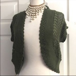 Dressbarn Crochet Green Shrug Size Small